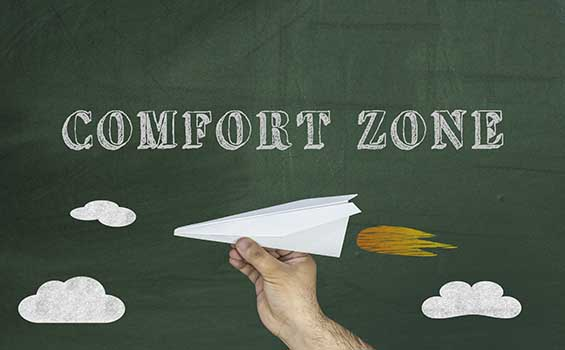 Comfort Zone concept, paper airplane