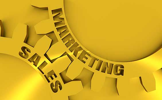Sales and Marketing gears simulating collaboration