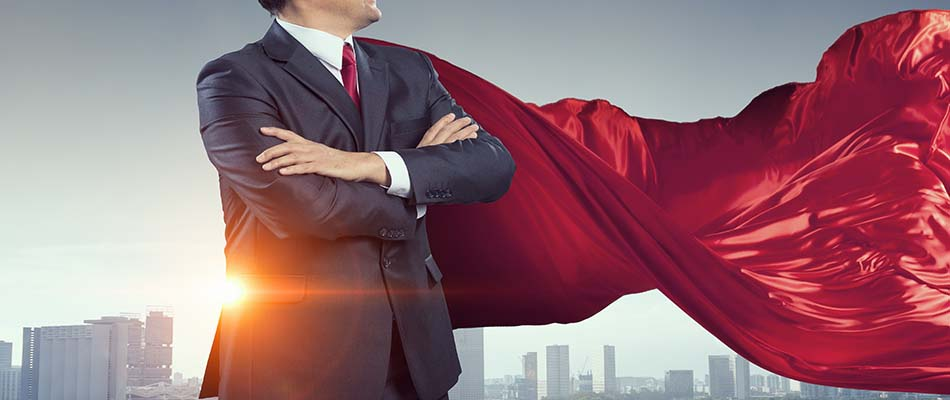 Buyer dressed as superhero against cityscape background