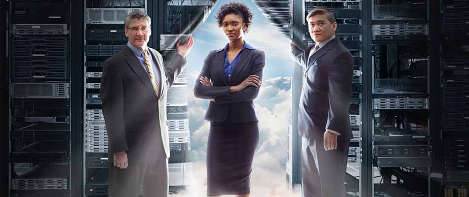Business people standing in front of clouds - 6 Signs Your Company Needs Digital Transformation
